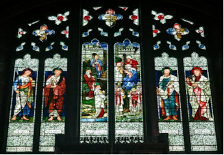 wide view of stained glass window st james daisy hill