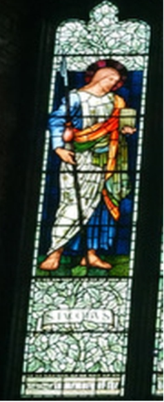Zoomed view of St James in Stained Glass